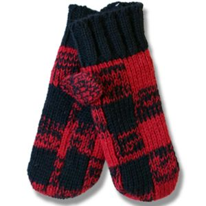 Adult Woolen mittens Buffalo check patt. 100% wool
