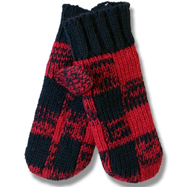 Adult Woolen mittens Buffalo check patt. 100% wool
