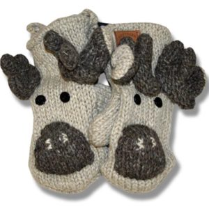 MOOSE/BEIGE BACKGROUND MITTENS