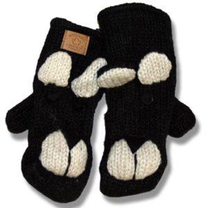 Black Bear #2 Kids Wool Mittens