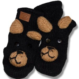 Black Bear #2 Kids Wool Mittens