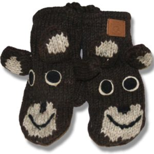 Brown bear  Kids Woolen Mittens