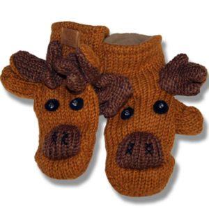 moose/honey brown Kids Woolen Mittens