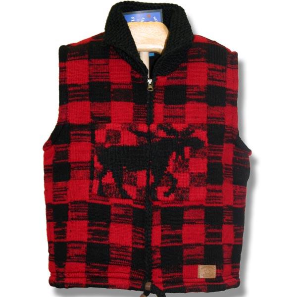 Adult Woolen vest Lined Moose Pat