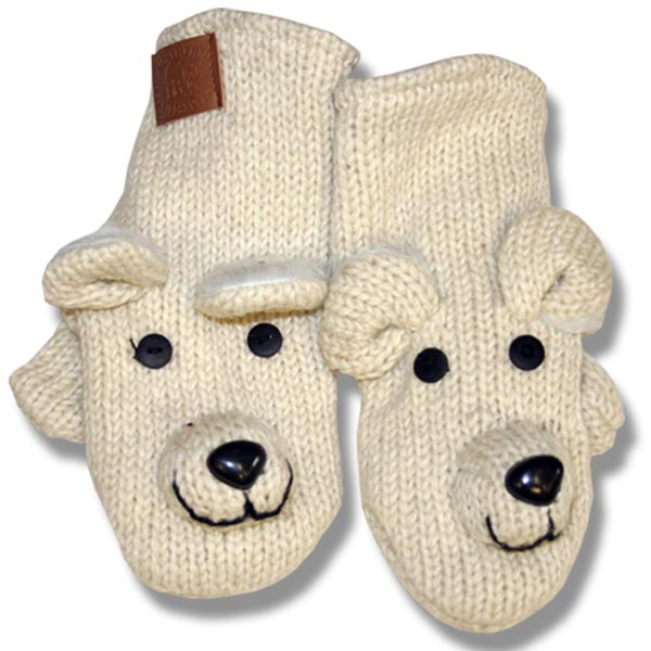 Polar bear Adult Woolen Mittens