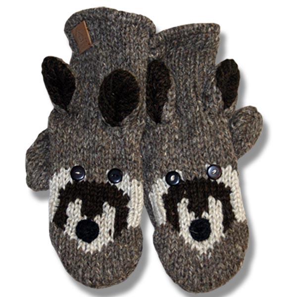Racoon Adult Woolen Mittens