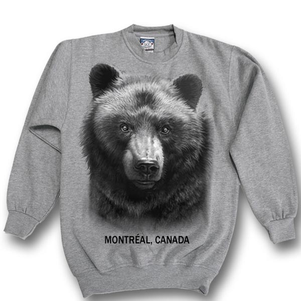 ADULT CREWNECK SWEAT WITH BLACK BEAR HEAD & TOWN NAME