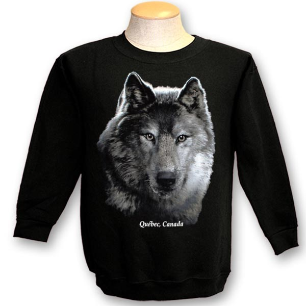 ADULT CREWNECK SWEAT WITH WOLF HEAD ON BLACK & TOWN NAME