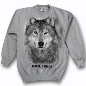 ADULT CREWNECK SWEAT WITH WOLF HEAD & TOWN NAME