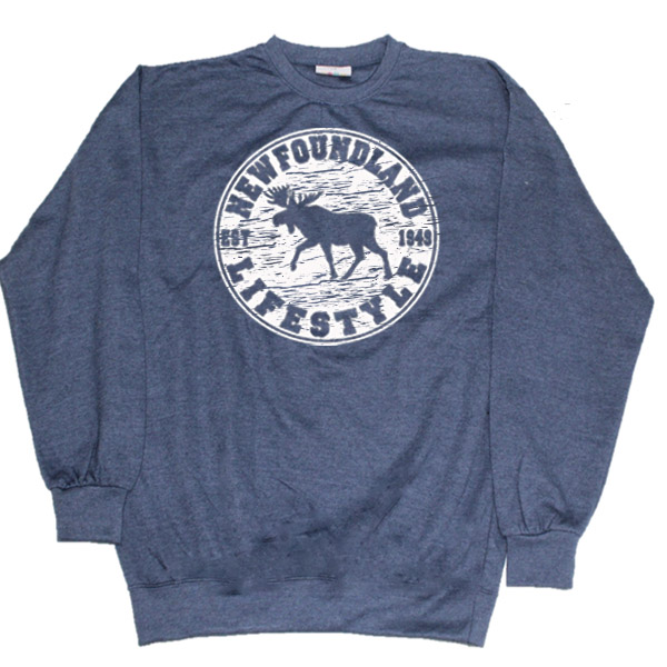 ADULT CREWNECK  SWEAT WITH MOOSE LIFESTYLE &TOWN NAME