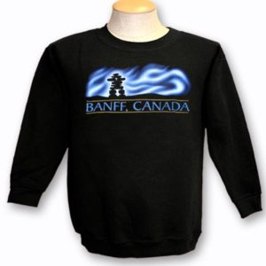 ADULT CREWNECK SWEAT WITH NORTHERN LIGHTS INUKSHUK & TOWN NAME