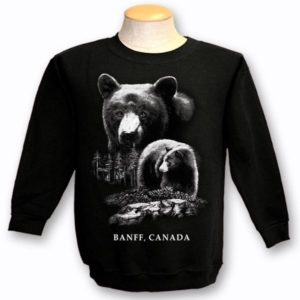 ADULT CREWNECK SWEAT WITH QUADRATONE BLACK BEAR & TOWN NAME