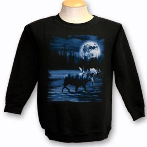 ADULT CREWNECK SWEAT WITH MOOSE NIGHT SCENE & TOWN NAME