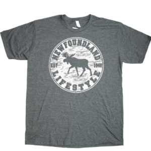 ADULT HEATHER T-SHIRT WITH MOOSE LIFESTYLE &TOWN NAME