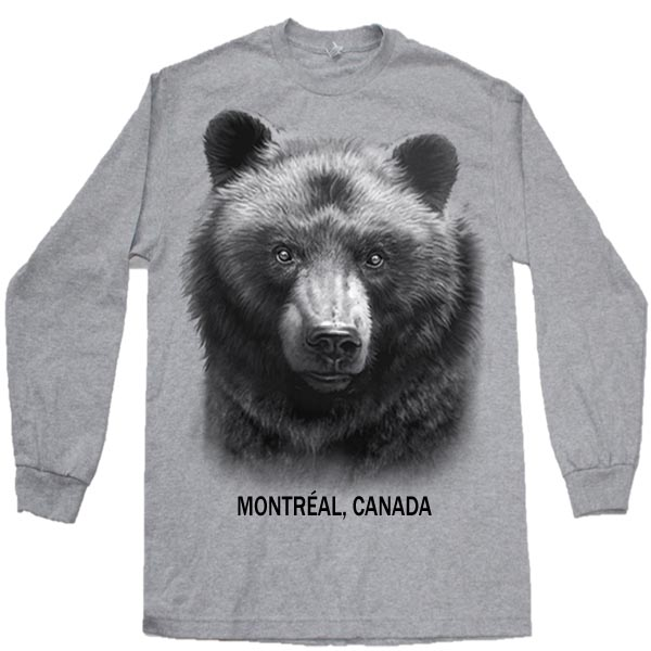 ADULT T-SHIRT LONG SLEEVE  WITH BLACK BEAR HEAD & TOWN NAME