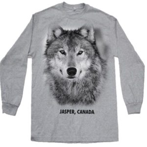 ADULT LONG SLEEVE  T-SHIRT WITH WOLF HEAD & TOWN NAME