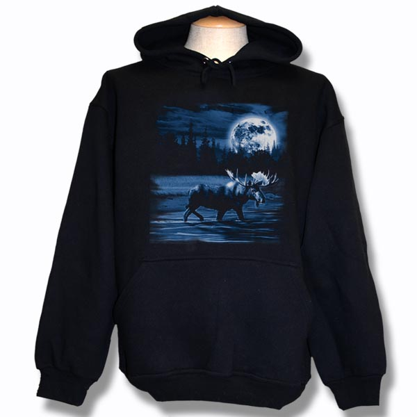 ADULT HOOD WITH MOOSE NIGHT SCENE & TOWN NAME