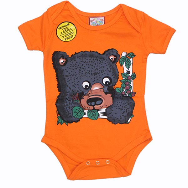 INFANT ONESIE BLACK BEAR  & TOWN NAME
