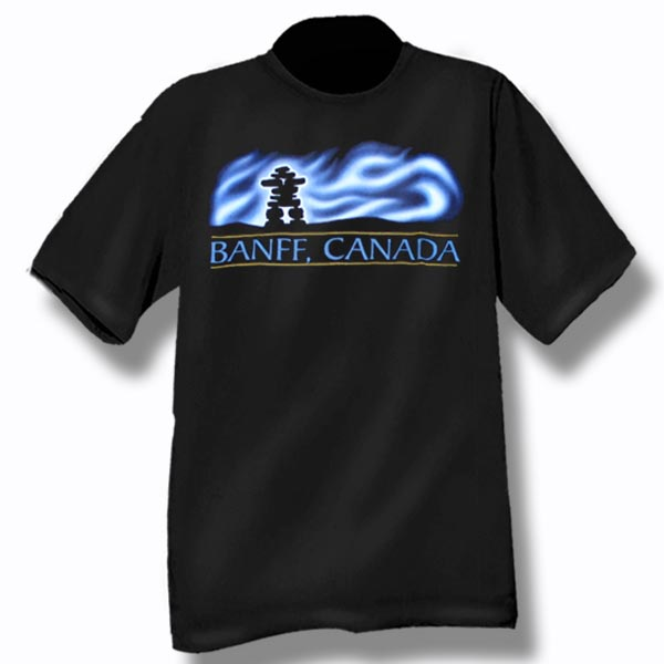 ADULT T-SHIRT WITH NORTHERN LIGHTS INUKSHUK &TOWN NAME