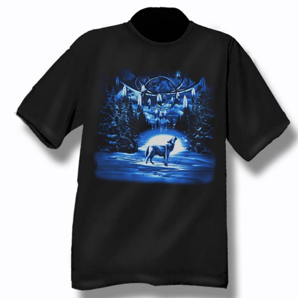 ADULT T-SHIRT DREAMCATCHER / WOLF &TOWN NAME