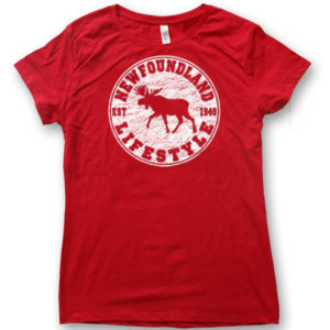 LADIES T-SHIRT WITH MOOSE LIFESTYLE &TOWN NAME
