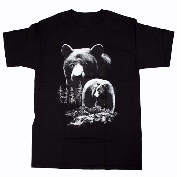 ADULT T-SHIRT WITH QUADRATONE BLACK BEAR & TOWN NAME