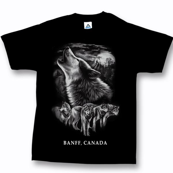 ADULT T-SHIRT WITH QUADRATONE WOLF