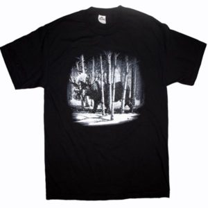 ADULT T-SHIRT WITH QUADRATONE MOOSE IN THE WOODS & TOWN NAME