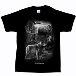 ADULT T-SHIRT WITH QUADRATONE WILDLIFE COLLAGE & TOWN NAME
