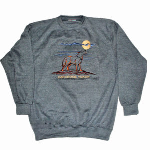 ADULT CREWNECK SWEAT WITH EMBROIDERY OUTLINE WOLF  &TOWN NAME