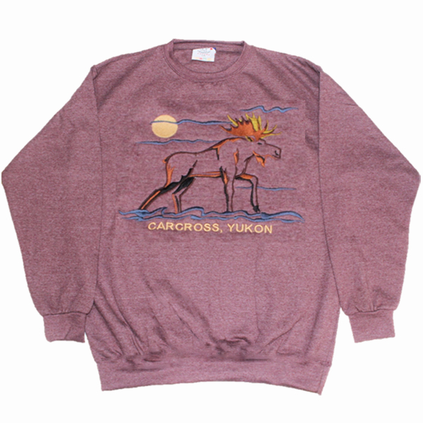 ADULT CREWNECK SWEAT WITH EMBROIDERY OUTLINE MOOSE &TOWN NAME