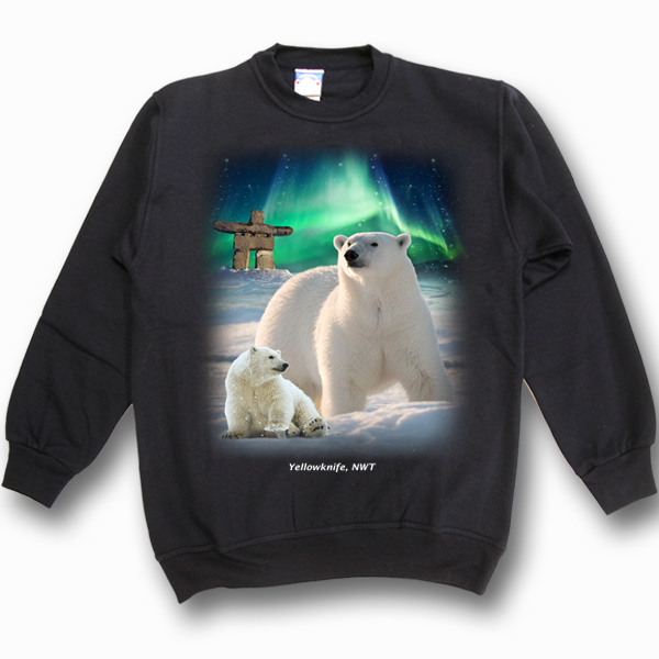 ADULT CREWNECK SWEAT WITH MOM&BABY POLAR BEARS &TOWN NAME