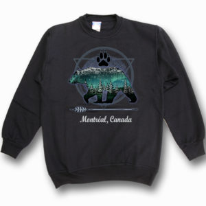 ADULT CREWNECK SWEAT W/ GRIZZLY BEAR W/PAW NORTHERN LIGHTS