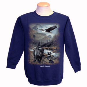 ADULT CREWNECK SWEAT W/BLACK BEAR&CUBS WITH FLYING EAGLE