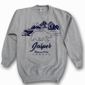 ADULT CREWNECK SWEAT WITH OUTLINE BEAR/MOUNTAINS & TOWN NAME