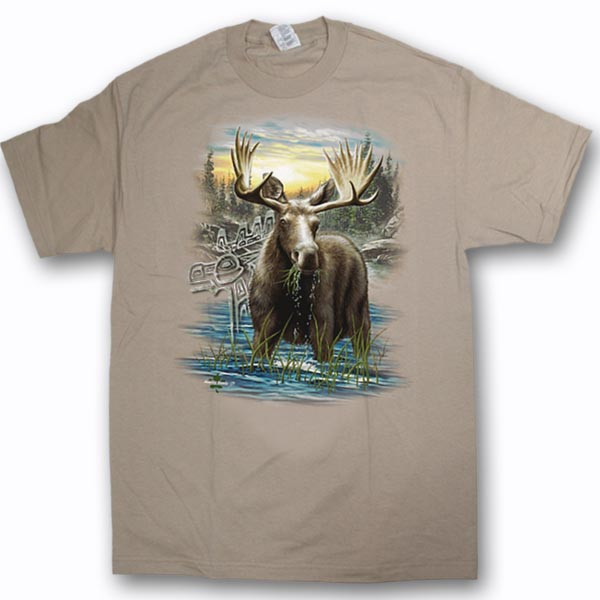 ADULT T-SHIRT WITH MOOSE IN THE WATER & TOWN NAME