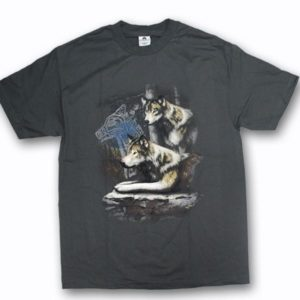 ADULT T-SHIRT WITH WOLF COUPLE & TOWN NAME