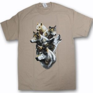 ADULT T-SHIRT WITH WOLF COLLAGE & TOWN NAME