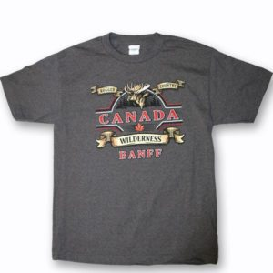 ADULT T-SHIRT WITH RUGGED MOOSE & TOWN NAME