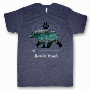 ADULT T-SHIRT WITH GRIZZLY BEAR W/PAW NORTHERN LIGHT&TOWN NAME