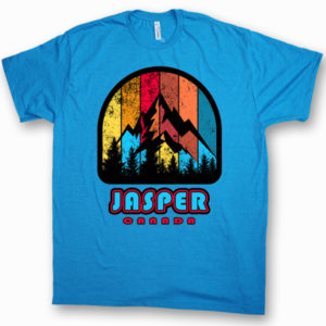 ADULT T-SHIRT WITH MULTICOLOR MOUNTAINS & TOWN NAME