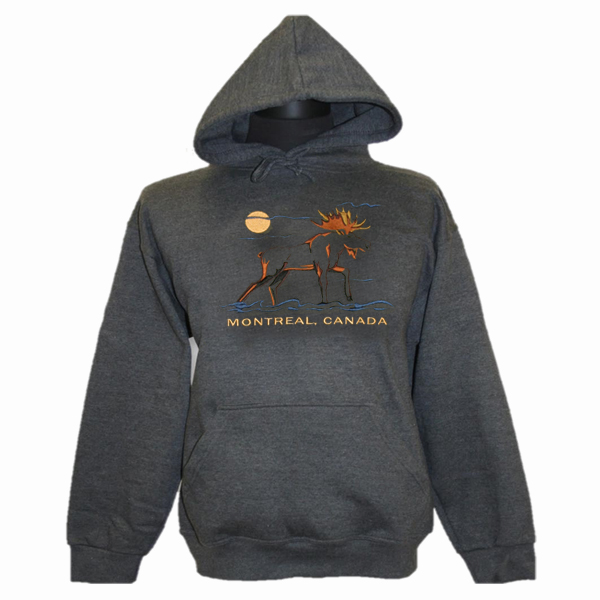 ADULT HOOD WITH FULL FRONT EMBROIDERY OUTLINE MOOSE & TOWN NAME