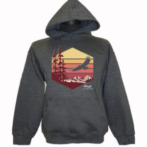 ADULT HOOD WITH EAGLE FLYING OVER MOUNTAINS & TOWN NAME