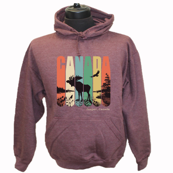 ADULT HOOD WITH RETRO CANADA,MOOSE AND EAGLE  & TOWN NAME