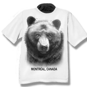 YOUTH T-SHIRT WITH BLACK BEAR HEAD & TOWN NAME