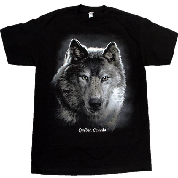 ADULT T-SHIRT WITH WOLF HEAD ON BLACK & TOWN NAME
