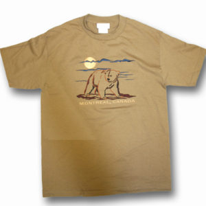 ADULT T-SHIRT WITH EMBROIDERY OUTLINE BEAR FULL FRONT &TOWN NAME