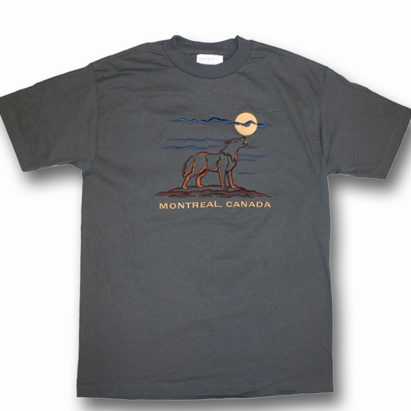 ADULT T-SHIRT WITH EMBROIDERY OUTLINE WOLF FULL FRONT &TOWN NAME