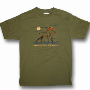 ADULT T-SHIRT WITH EMBROIDERY OUTLINE MOOSE FULL FRONT&TOWN NAME