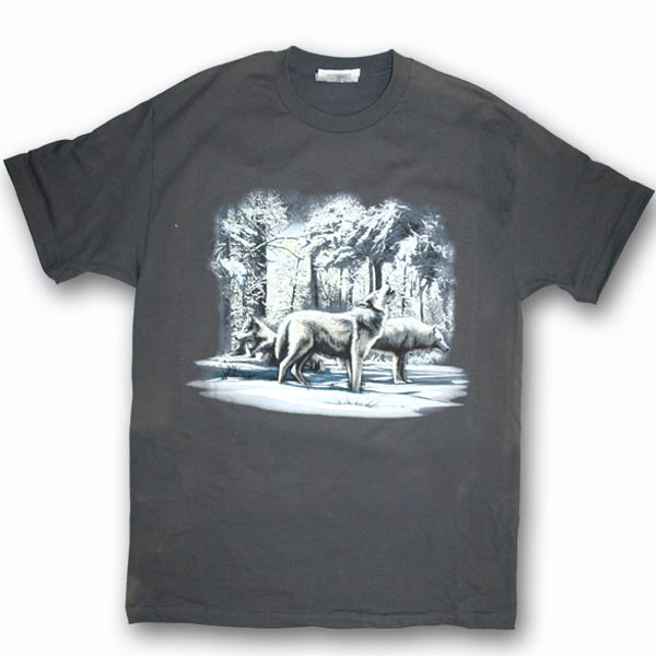 ADULT T-SHIRT WITH WINTER WOLF SCENE & TOWN NAME